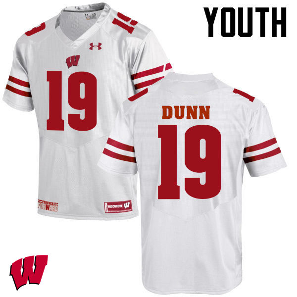 Youth Wisconsin Badgers #19 Bobby Dunn College Football Jerseys-White